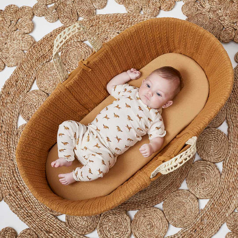 The Little Green Sheep Moses Basket Sheet - Honey-Sheets- Natural Baby Shower