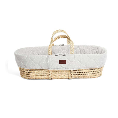 The Little Green Sheep Natural Quilted Moses Basket + Mattress - Dove Rice-Moses Baskets- Natural Baby Shower