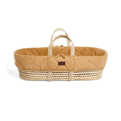 The Little Green Sheep Natural Quilted Moses Basket + Mattress - Honey Rice-Moses Baskets- Natural Baby Shower