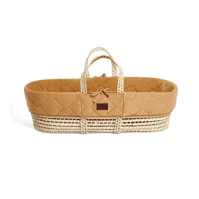 The Little Green Sheep Natural Quilted Moses Basket + Mattress - Honey-Moses Baskets- Natural Baby Shower