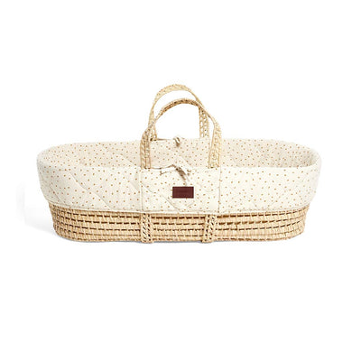 The Little Green Sheep Natural Quilted Moses Basket + Mattress - Linen Rice-Moses Baskets- Natural Baby Shower