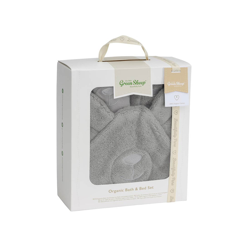 The Little Green Sheep Organic Baby Bath & Bed Gift Set - Bear-Towels & Robes-Bear Brown-One Size- Natural Baby Shower
