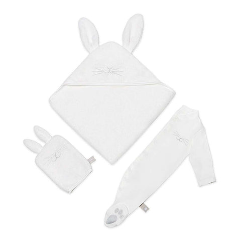The Little Green Sheep Organic Baby Bath & Bed Gift Set - Bunny-Towels & Robes-Bunny White-One Size- Natural Baby Shower