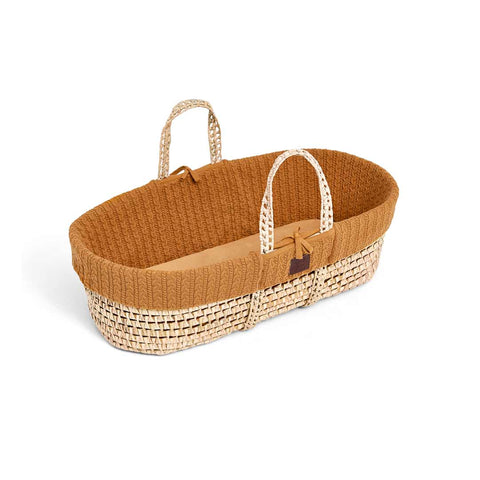 The Little Green Sheep Organic Knitted Moses Basket & Mattress - Honey-Moses Baskets- Natural Baby Shower
