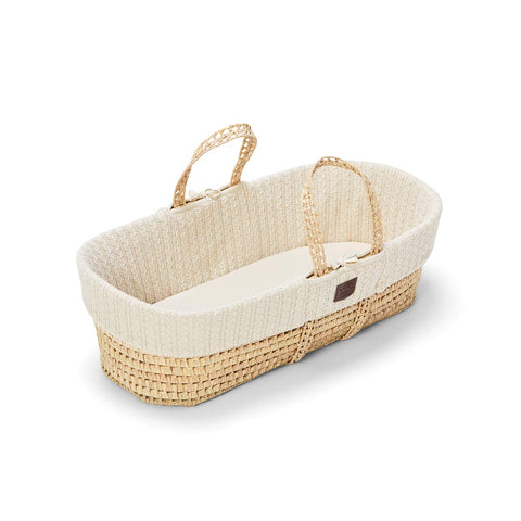 The Little Green Sheep Organic Knitted Moses Basket & Mattress - Linen-Moses Baskets- Natural Baby Shower
