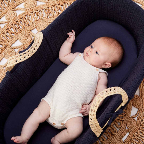 The Little Green Sheep Organic Knitted Moses Basket & Mattress - Midnight-Moses Baskets- Natural Baby Shower