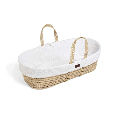 The Little Green Sheep Organic Knitted Moses Basket & Mattress - White-Moses Baskets- Natural Baby Shower