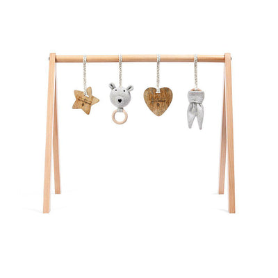 The Little Green Sheep Wooden Play Gym + Charms - Bear Love-Baby Gyms- Natural Baby Shower