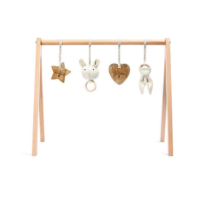 The Little Green Sheep Wooden Play Gym + Charms - 	Bunny Love-Baby Gyms- Natural Baby Shower
