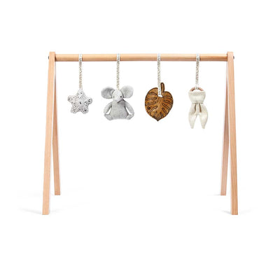 The Little Green Sheep Wooden Play Gym + Charms - Elephant-Baby Gyms- Natural Baby Shower