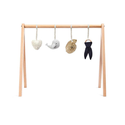The Little Green Sheep Wooden Play Gym + Charms - Ocean Whale-Baby Gyms- Natural Baby Shower