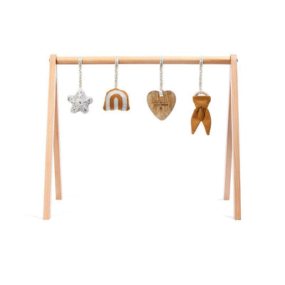The Little Green Sheep Wooden Play Gym + Charms - Rainbow Honey-Baby Gyms- Natural Baby Shower