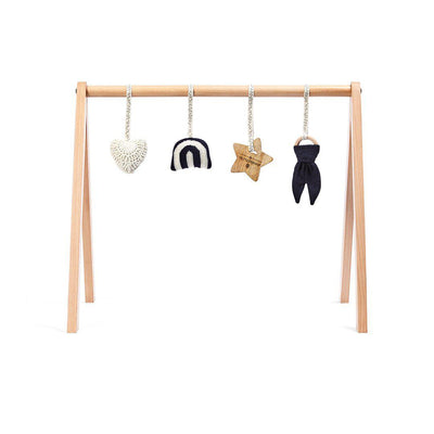 The Little Green Sheep Wooden Play Gym + Charms - Rainbow Midnight-Baby Gyms- Natural Baby Shower