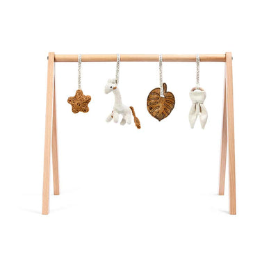 The Little Green Sheep Wooden Play Gym + Charms - Safari Giraffe-Baby Gyms- Natural Baby Shower