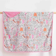 The Bonnie Mob Blaze Reversible Blanket - Pinks Night Sky