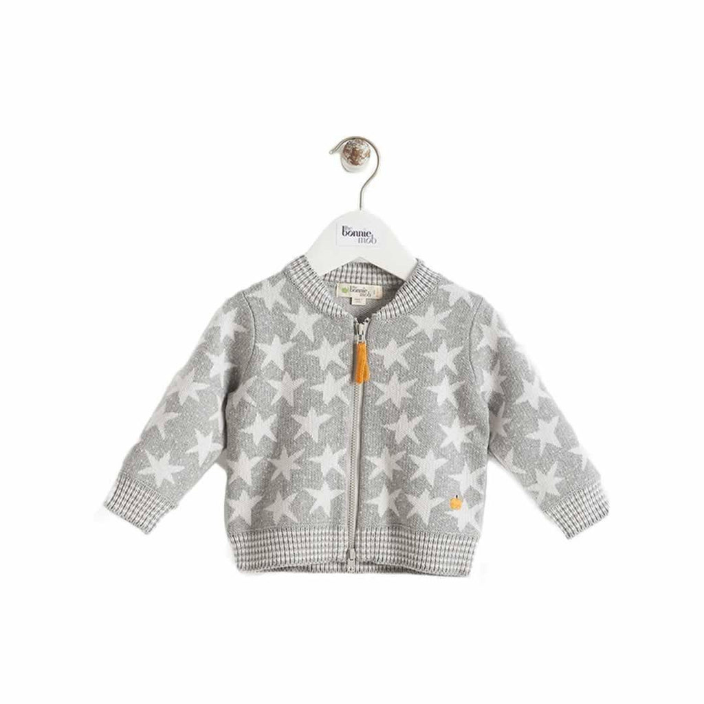 The Bonnie Mob - Capella Stars Jaquard Zip Front Cardigan Kids Greys
