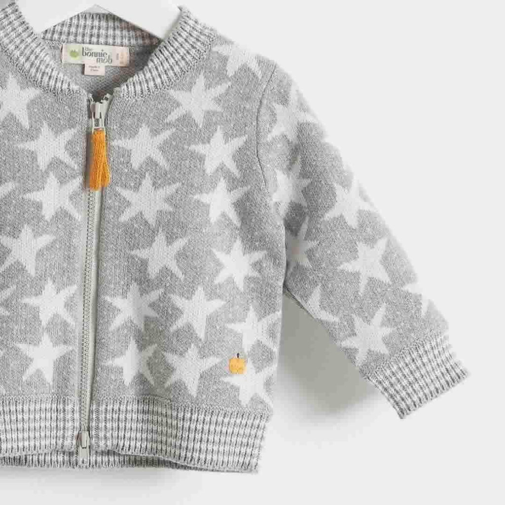 Bonnie Mob - Capella Stars Jaquard Zip Front Cardigan Kids - Greys-Cardigans-2-3y-Greys- Natural Baby Shower