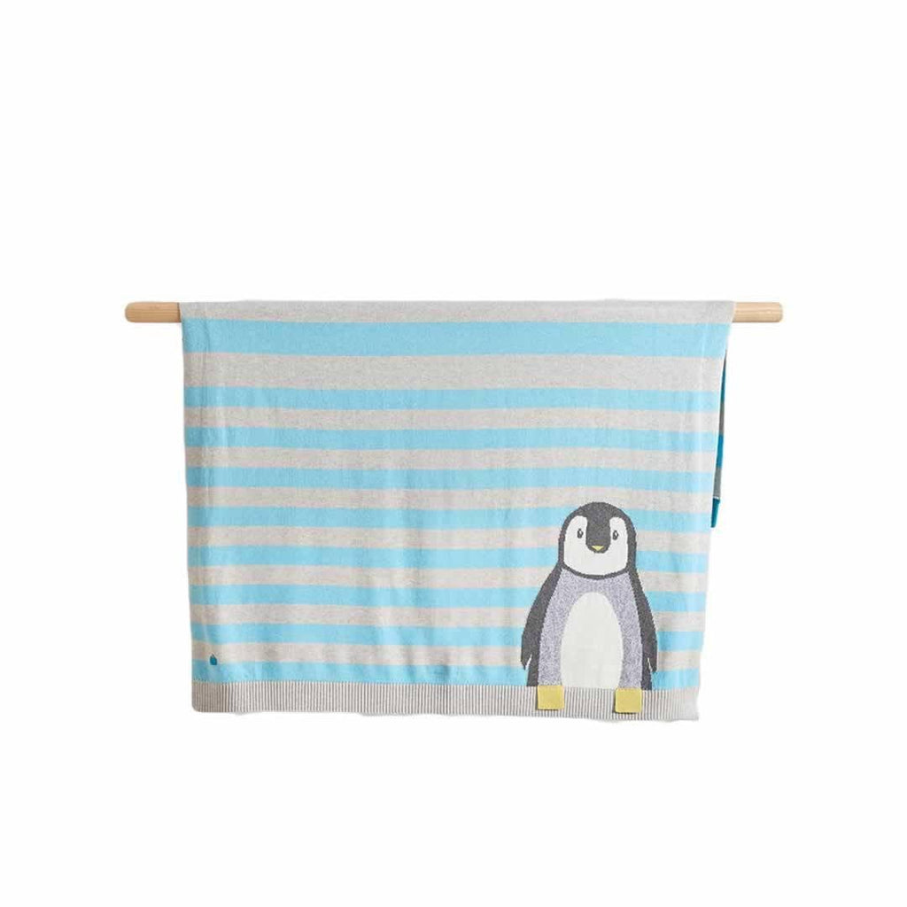 The Bonnie Mob Dancer Penguin Jaquard Baby Blanket - Pale Blues