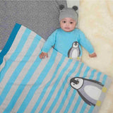 The Bonnie Mob - Dancer Penguin Jaquard Baby Blanket - Pale Blues Lifestyle