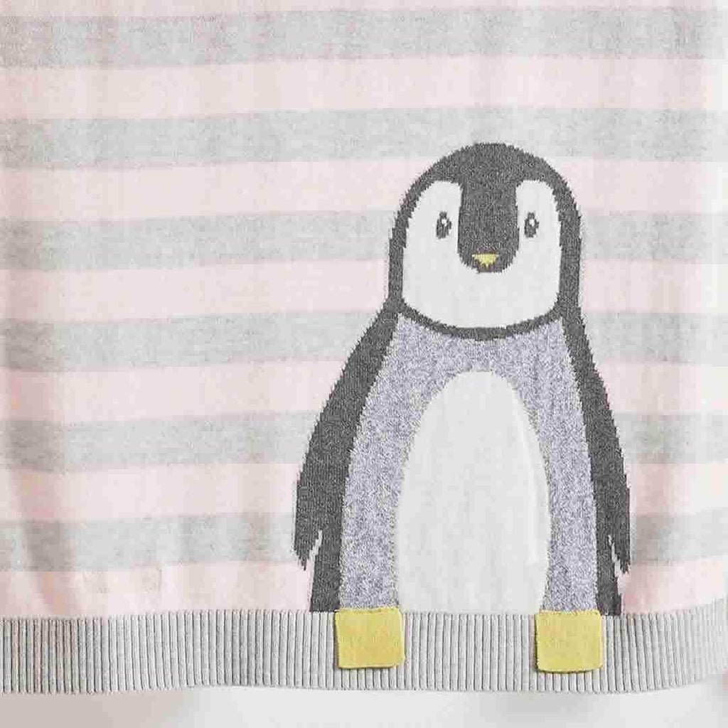 The Bonnie Mob Dancer Penguin Jaquard Baby Blanket - Pale Pinks
