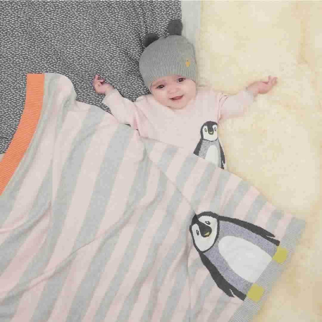 The Bonnie Mob - Dancer Penguin Jaquard Baby Blanket - Pale Pinks Lifestyle