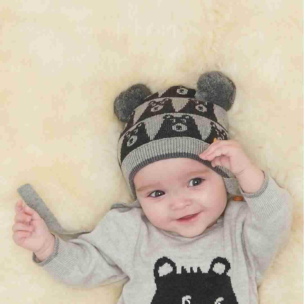 The Bonnie Mob - Gaz Bear Jaquard Hat with Pom Pom Ears - Greys Lifestyle