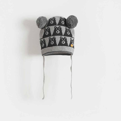 Bonnie Mob - Gaz Bear Jaquard Hat with Pom Pom Ears - Greys - Hats - Natural Baby Shower