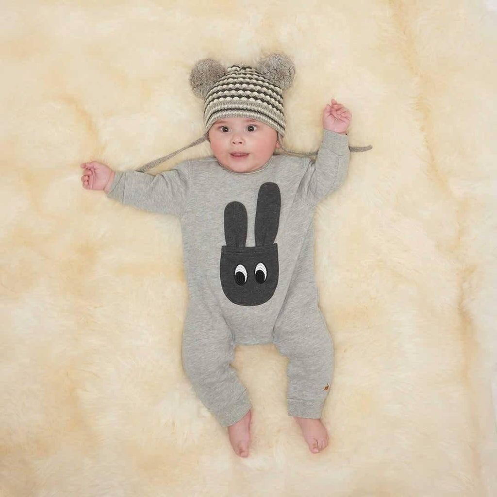 The Bonnie Mob - Jax Bunny Pocket Romper - Grey Lifestyle