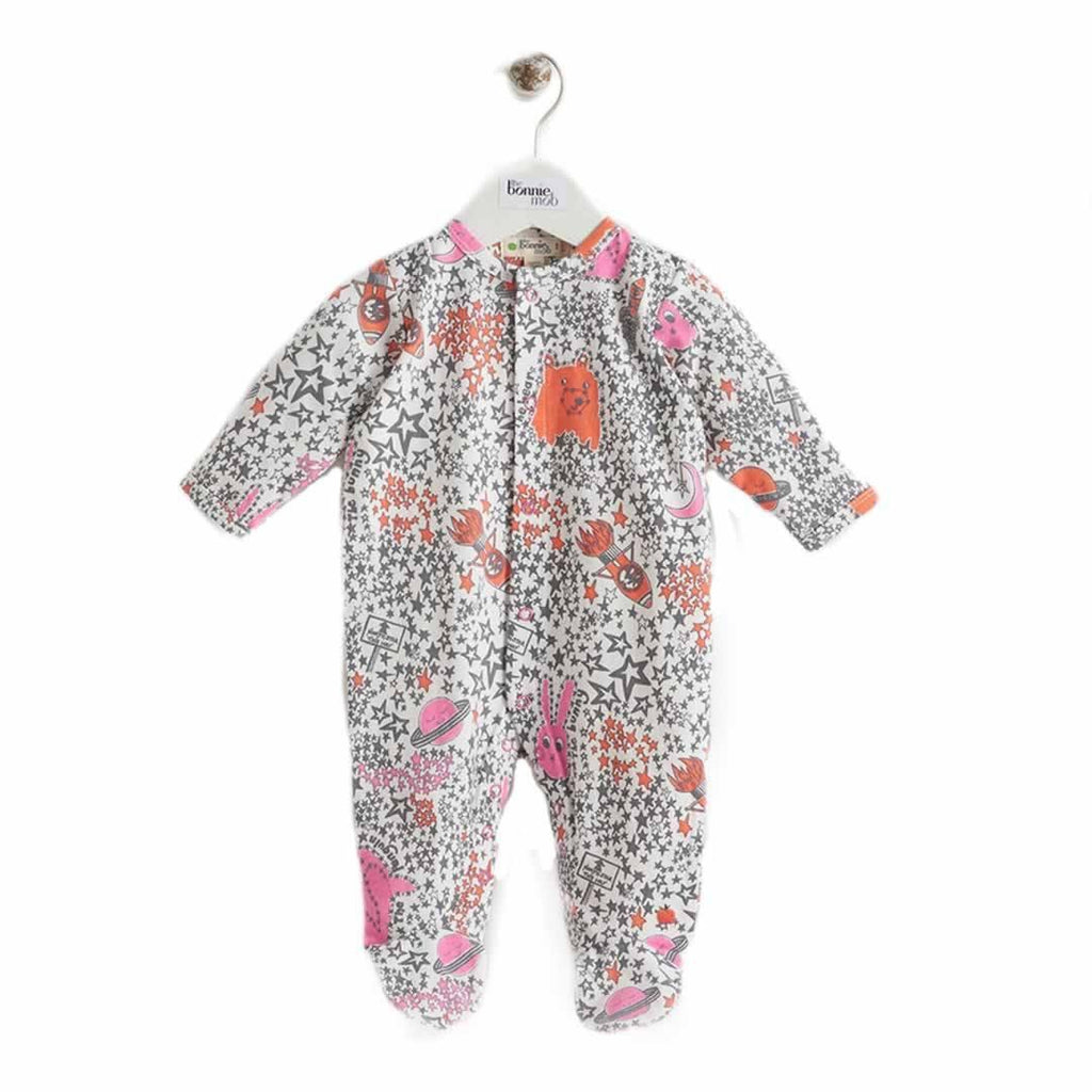 The Bonnie Mob Borealis Sleepsuit in Pinks Night Sky