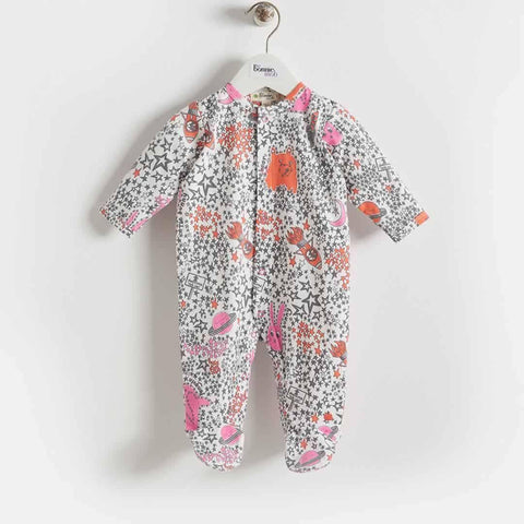 Bonnie Mob Borealis Sleepsuit - Pinks Night Sky - Playsuits & Rompers - Natural Baby Shower