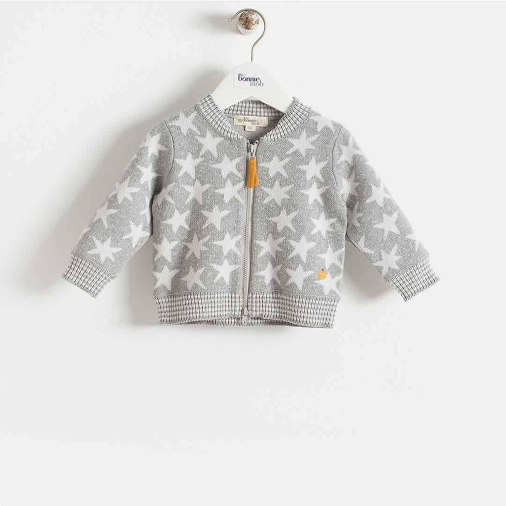 Bonnie Mob - Capella Stars Jaquard Zip Front Cardigan Kids - Greys - Hoodies & Cardigans - Natural Baby Shower