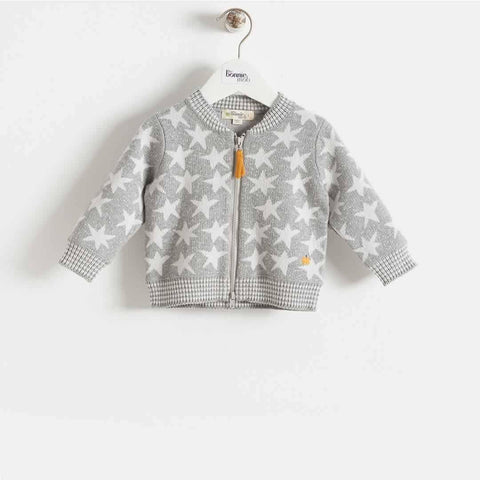 The Bonnie Mob Capella Stars Jaquard Zip Front Cardigan Kids - Greys