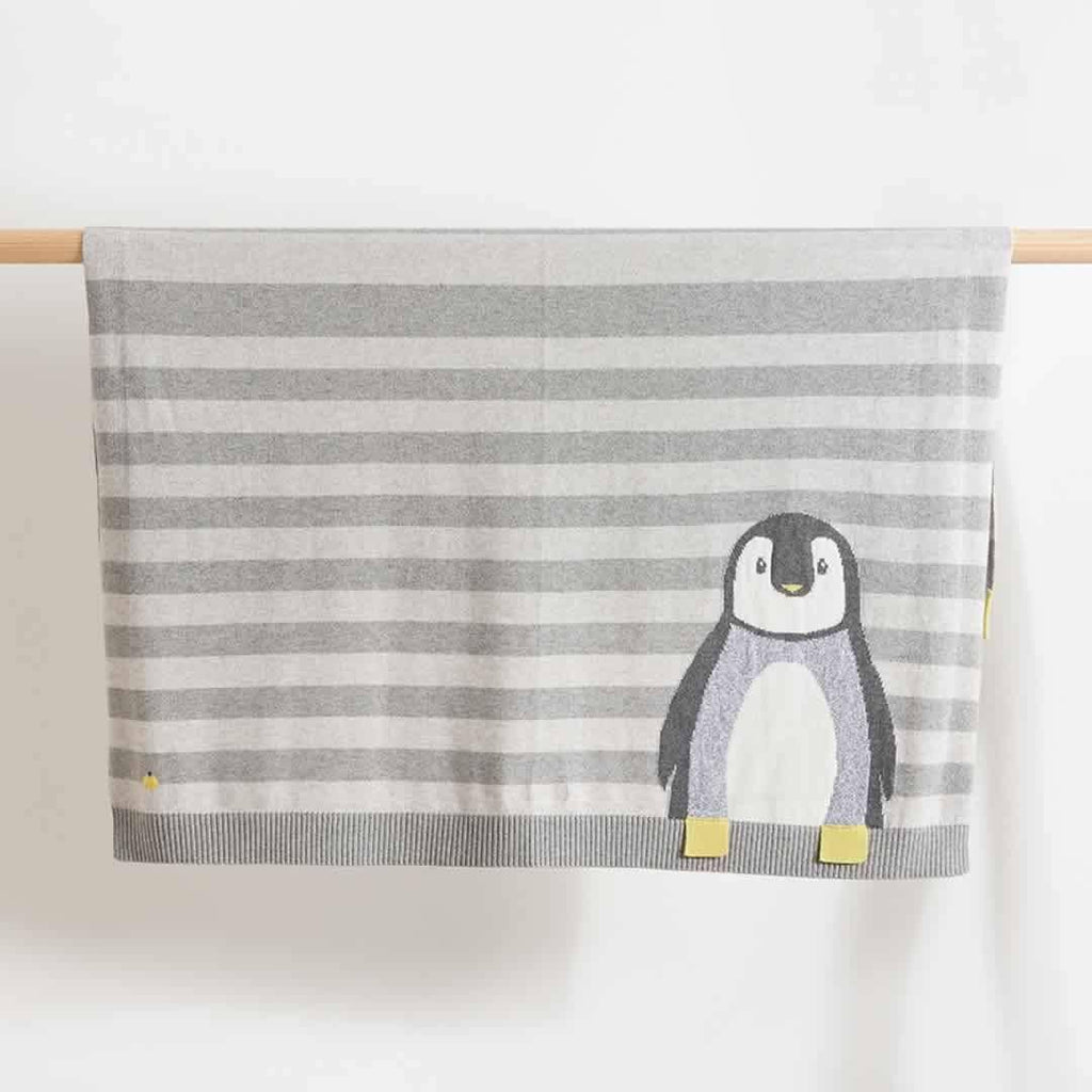 The Bonnie Mob - Dancer Penguin Jaquard Baby Blanket in Greys