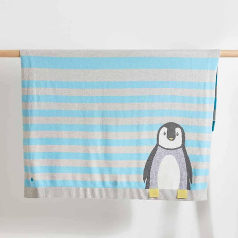 Bonnie Mob - Dancer Penguin Jaquard Baby Blanket - Pale Blues - Blankets - Natural Baby Shower
