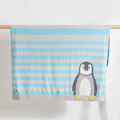 The Bonnie Mob - Dancer Penguin Jaquard Baby Blanket in Pale Blues