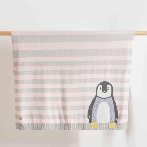 Bonnie Mob - Dancer Penguin Jaquard Baby Blanket - Pale Pinks - Blankets - Natural Baby Shower
