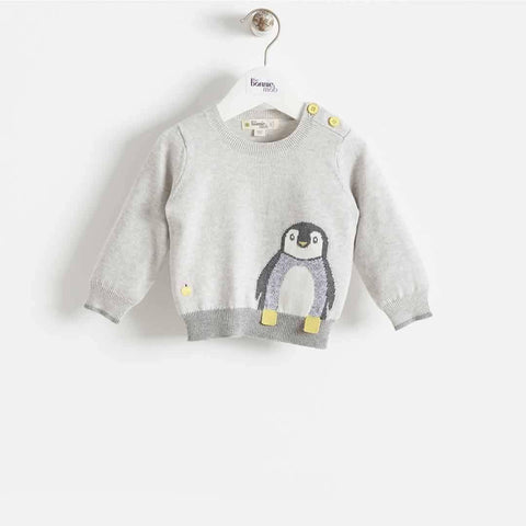 Bonnie Mob - Dopple Intarsia Sweater Kids - Greys - Hoodies & Cardigans - Natural Baby Shower