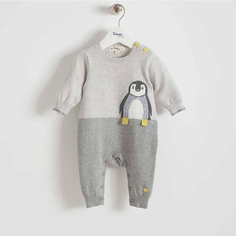 Bonnie Mob - Duke Penguin Intarsia Playsuit - Greys - Playsuits & Rompers - Natural Baby Shower