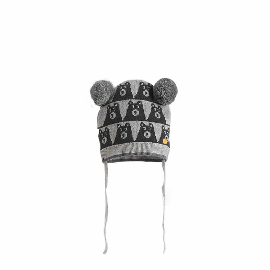 The Bonnie Mob - Gaz Bear Jaquard Hat with Pom Pom Ears Greys