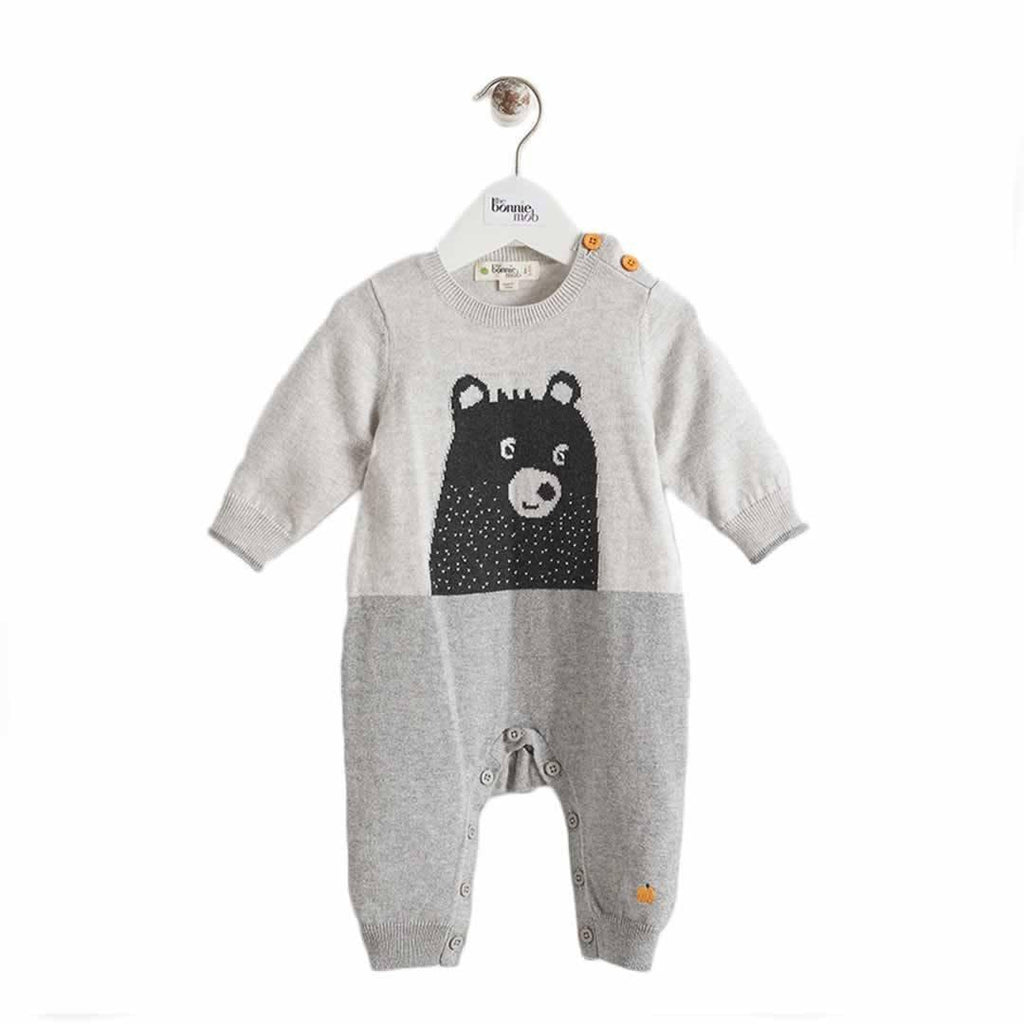 The Bonnie Mob Goldie Bear Intarsia Playsuit in Greys