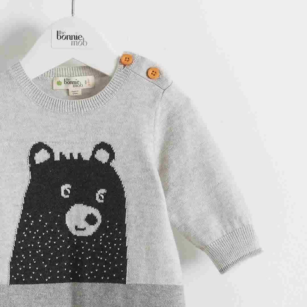 The Bonnie Mob Goldie Bear Intarsia Playsuit Greys Detail