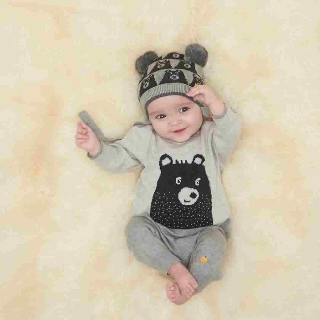 The Bonnie Mob Goldie Bear Intarsia Playsuit - Greys Lifestyle
