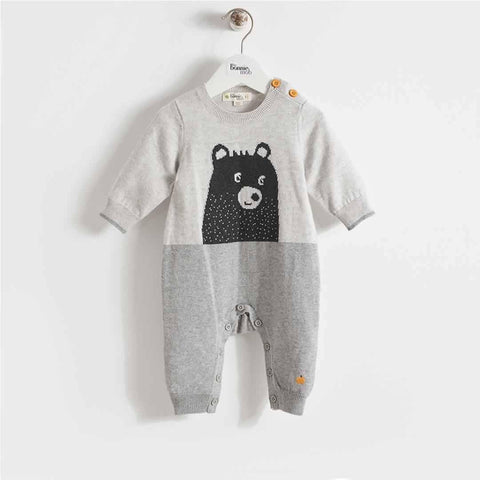 The Bonnie Mob Goldie Bear Intarsia Playsuit Greys