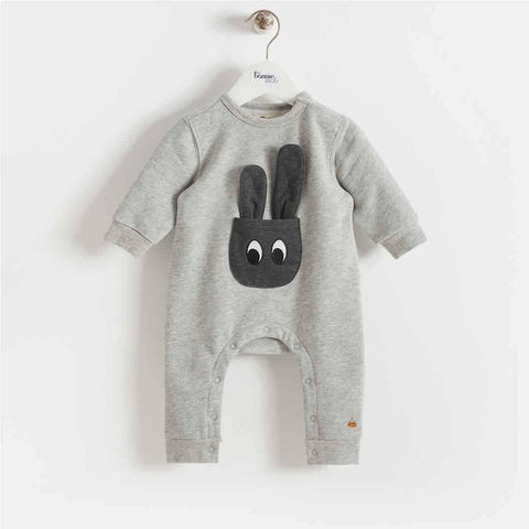Bonnie Mob - Jax Bunny Pocket Romper - Grey - Playsuits & Rompers - Natural Baby Shower
