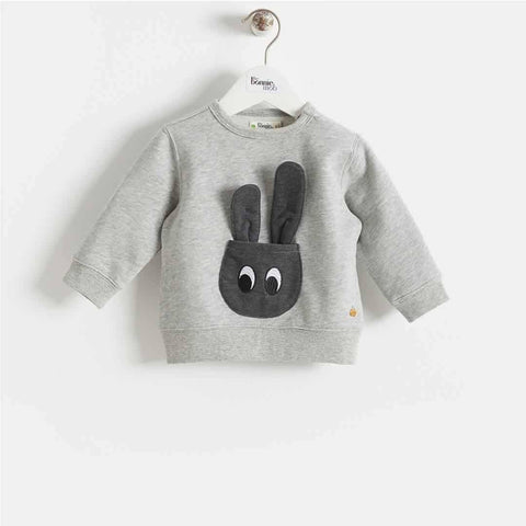 Bonnie Mob - Jetson Bunny Pocket Sweatshirt - Grey - Hoodies & Cardigans - Natural Baby Shower