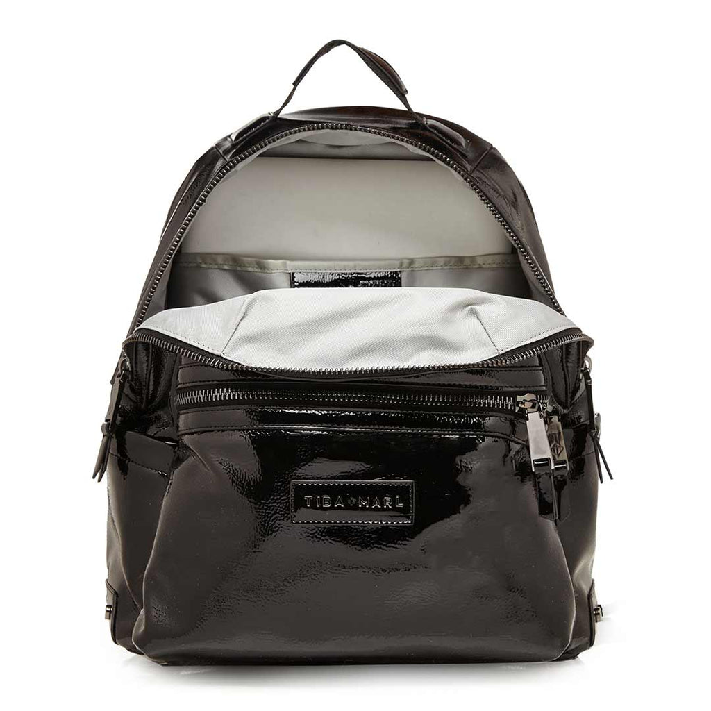 Tiba + Marl Miller Backpack - Black Patent Open