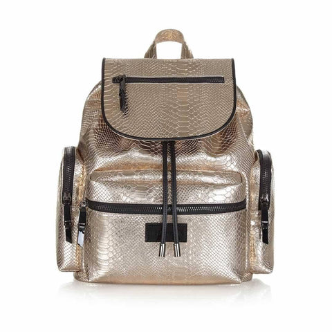 Tiba + Marl Kaspar Knapsack - Gold Python - Changing Bags - Natural Baby Shower