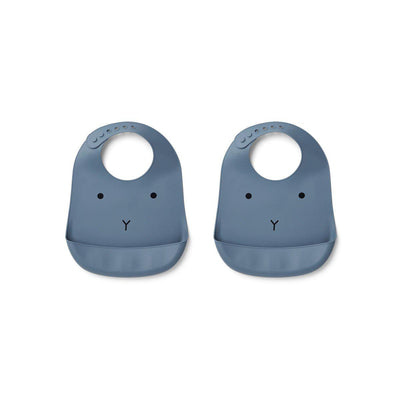 Liewood Tilda Rabbit Silicone Bibs - 2 Pack - Blue Wave-Bibs- Natural Baby Shower