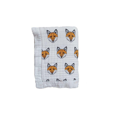 Tobias & The Bear Just Call Me Fox Muslin Quilt-Blankets- Natural Baby Shower
