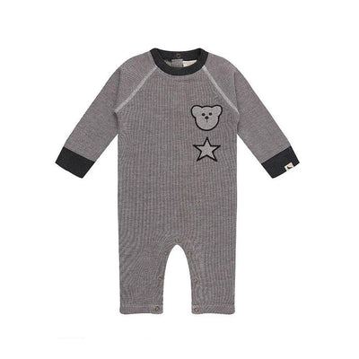 Turtledove London Badged Cosy Playsuit - Mono-Rompers- Natural Baby Shower
